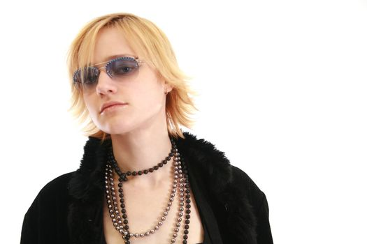Blonde woman in furry coat and sunglasses