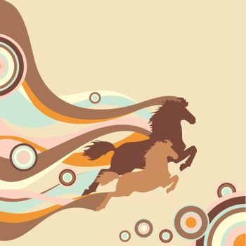 retro background with horses