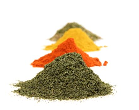 Various kinds of spices on white