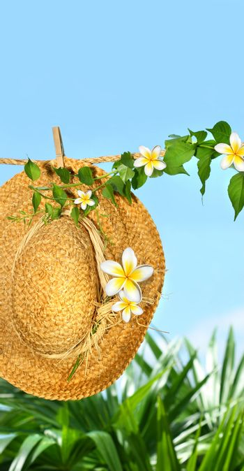 Summer straw hat with frangipani  flowers on clothesline
