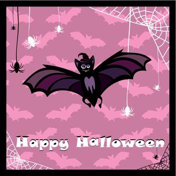 greeting card with cute bat