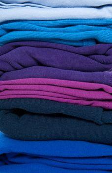Folded blue, purple and indigo clothes