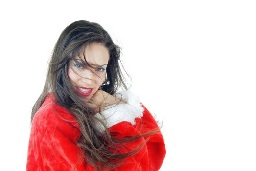 Smiling lady in the red Santa Claus costume on a white background