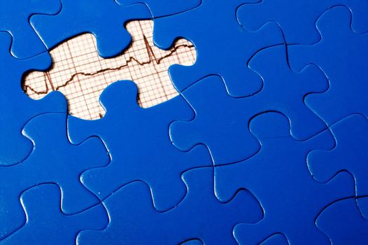 A puzzle with an EKG under a missing piece.