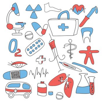 big collection of medical signs vector illustration