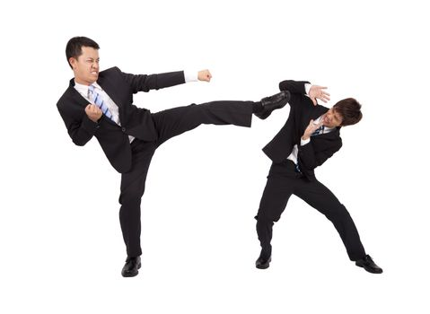 Asian Businessman are fighting by kung fu