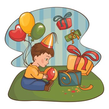 child with a birthday present