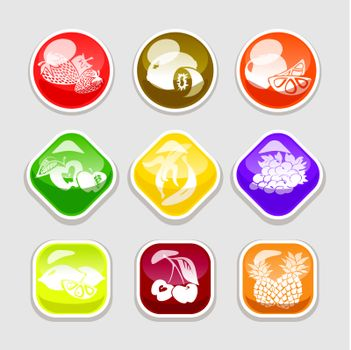 fruit glossy buttons