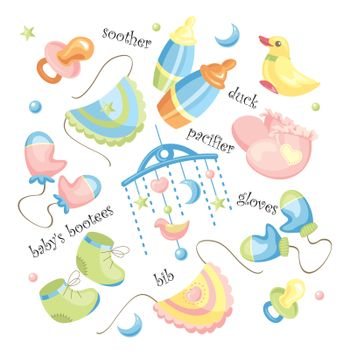 vector set of baby clothing