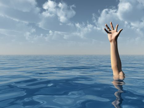 arm on water landscape and blue cloudy sky - 3d illustration