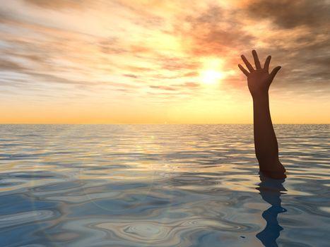 arm on water landscape against sunset - 3d illustration