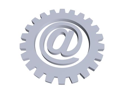 email alias and gear wheel - 3d illustration