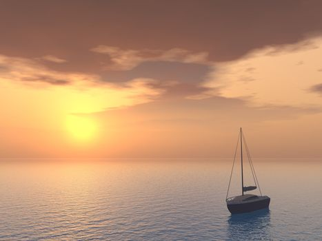 a yacht in the sunset - 3d illustration