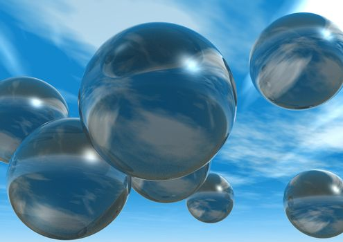 glass balls fly at the sky - 3d illustration