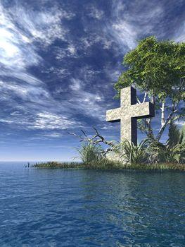 stone cross at water landscape - 3d illustration