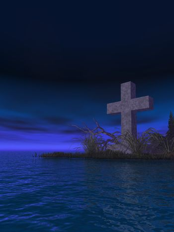 stone cross in water landscape at night - 3d illustration