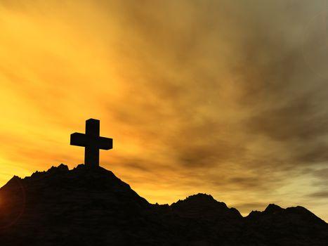 holy cross in the sunset - 3d illustration