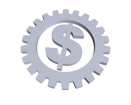 dollar sign and gear wheel -3d illustration