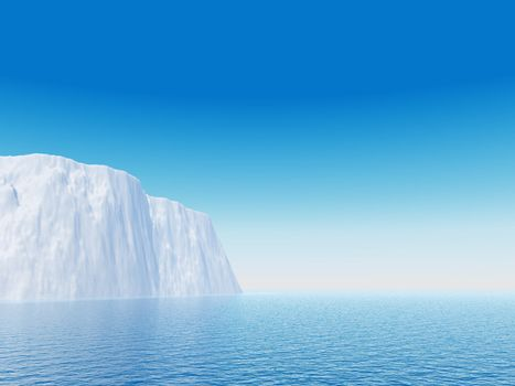 Iceberg against blue sky - 3d illustration
