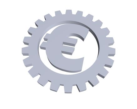euro sign and gear wheel -3d illustration
