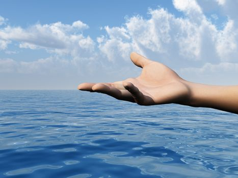 open hand and water landscape - 3d illustration