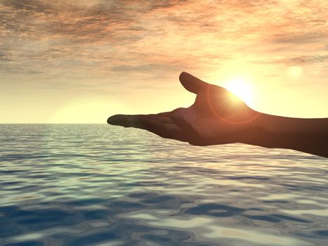 open hand in the sunset - 3d illustration