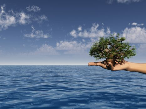 tree in a human hand over the ocean - 3d illustration