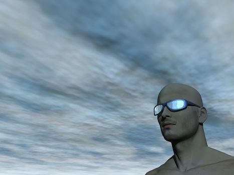 surreal man portrait with sun glasses - 3d illustration