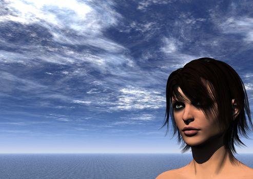 portrait of woman in water landscape - 3d illustration