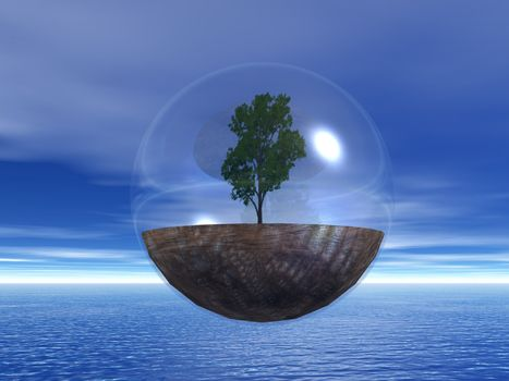 tree in a bubble fly ove the ocean - 3d illustration