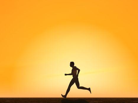 runner in the sunset - 3d illustration