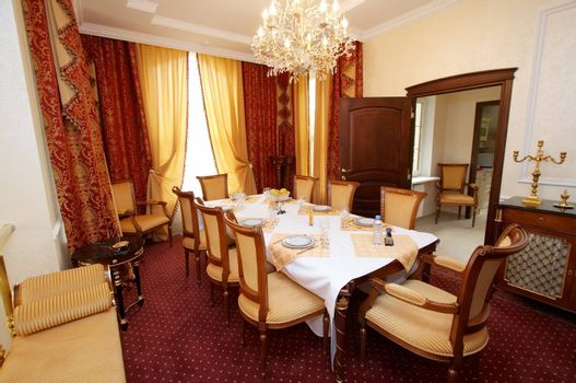 Dining table in beautiful and rich hotel