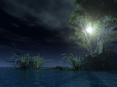 water landscape with tree at night - 3d illustration