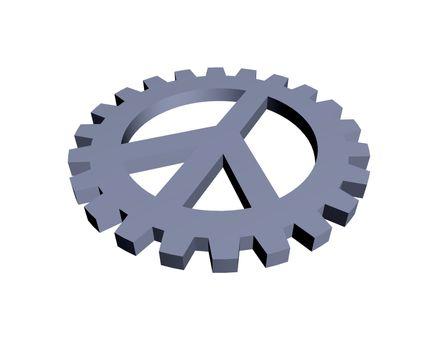 peace symbol in gear wheel - 3d illustration