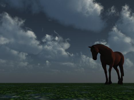 a horse at night against cloudy sky - 3d illustration