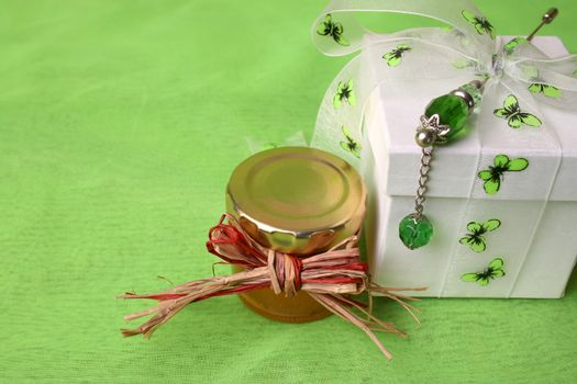 White Gift Box and Small Copper Lid Honey Jar
