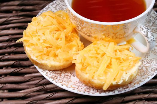 Early Moring Tea with scones and cheese