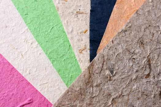 Different colored Handmade paper with various textures