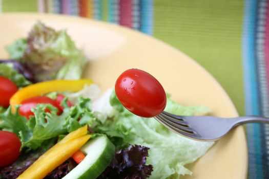 Fresh colorful salad with cherrie tamatoes and cucumber