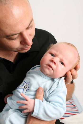 Father and Baby boy on a white background
