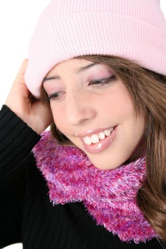 Beautiful teenage female model in winter attire