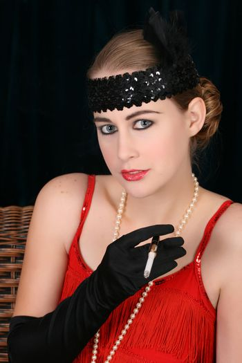 Beautiful young female in 1920 style attire