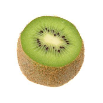 One sliced Kiwi fruit on a white background