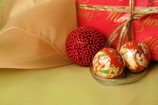 Brightly colored christmas gifts and decorations