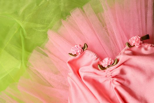 Pink Ballet costume on a bright green background