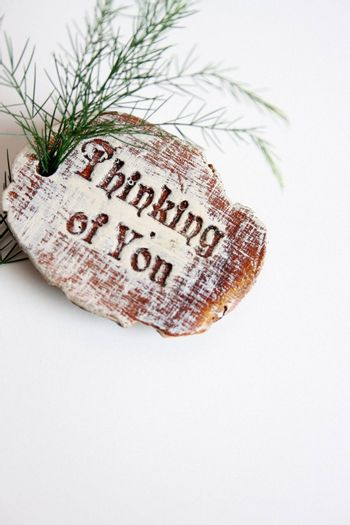 Wooden sign saying Thinking Of You and a branch