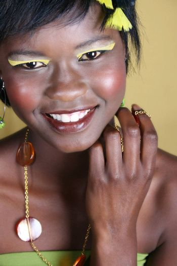 Beautiful young African female model with accessories