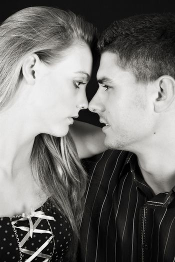 Young caucasian couple in love, noses touching