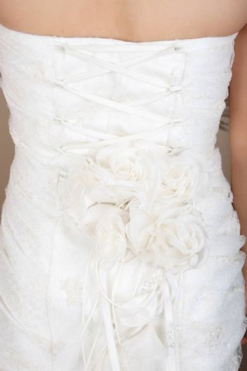 Floral and lace detail on the back of wedding dress