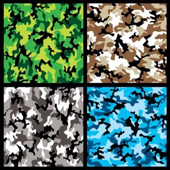 Collection of four different abstract colored camouflage backgrounds